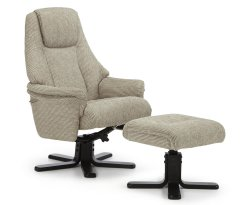 Clarison Latte Fabric Recliner Chair and Stool