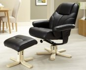 Rosenberg Black Faux Leather Recliner Chair and Stool