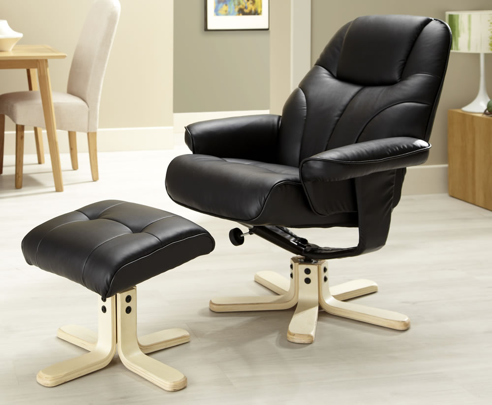 rosenberg cream faux leather recliner chair and stool recliner chair