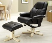 Rosenberg Faux Leather Recliner Chair and Stool