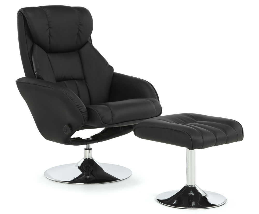 Farris Black Faux Leather Recliner Chair - Just Armchairs