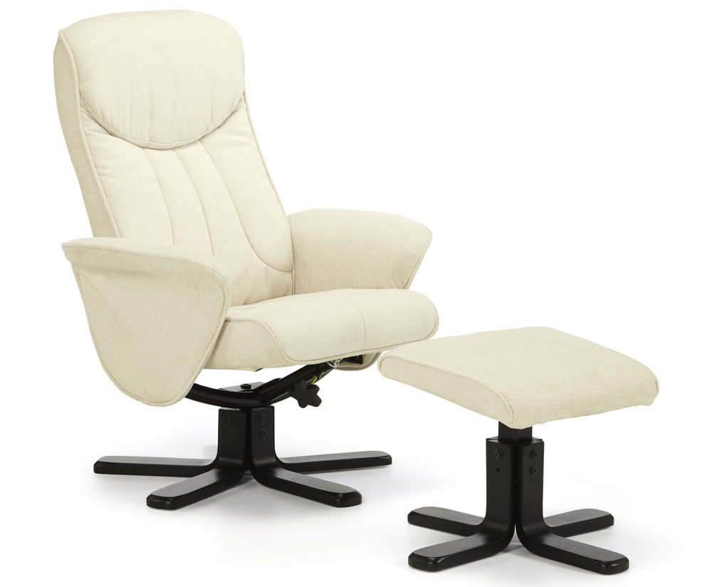 Olsen Pearl Fabric Massage Recliner Chair And Stool Just Armchairs