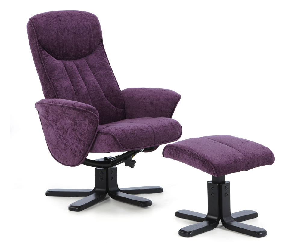 Olsen Amethyst Fabric Massage Recliner Chair And Stool Just Armchairs
