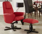 Jersey Red Faux Leather Recliner Chair and Foot Stool