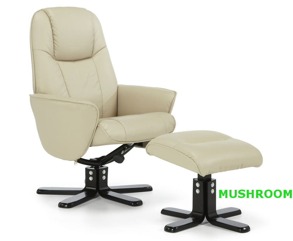 Jersey Faux Leather Recliner Chair And Foot Stool