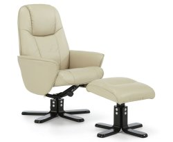 Jersey Mushroom Faux Leather Recliner Chair and Foot Stool