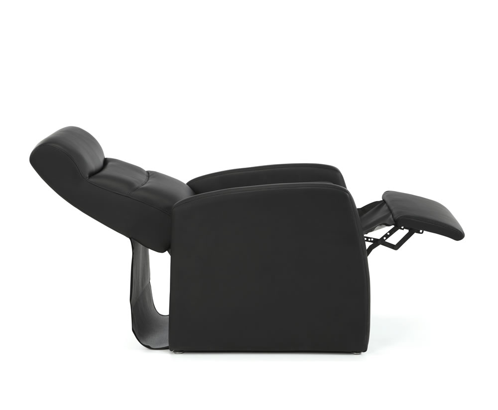 Black Faux Leather Chair: Thomas Black Faux Leather Manual Recliner Chair