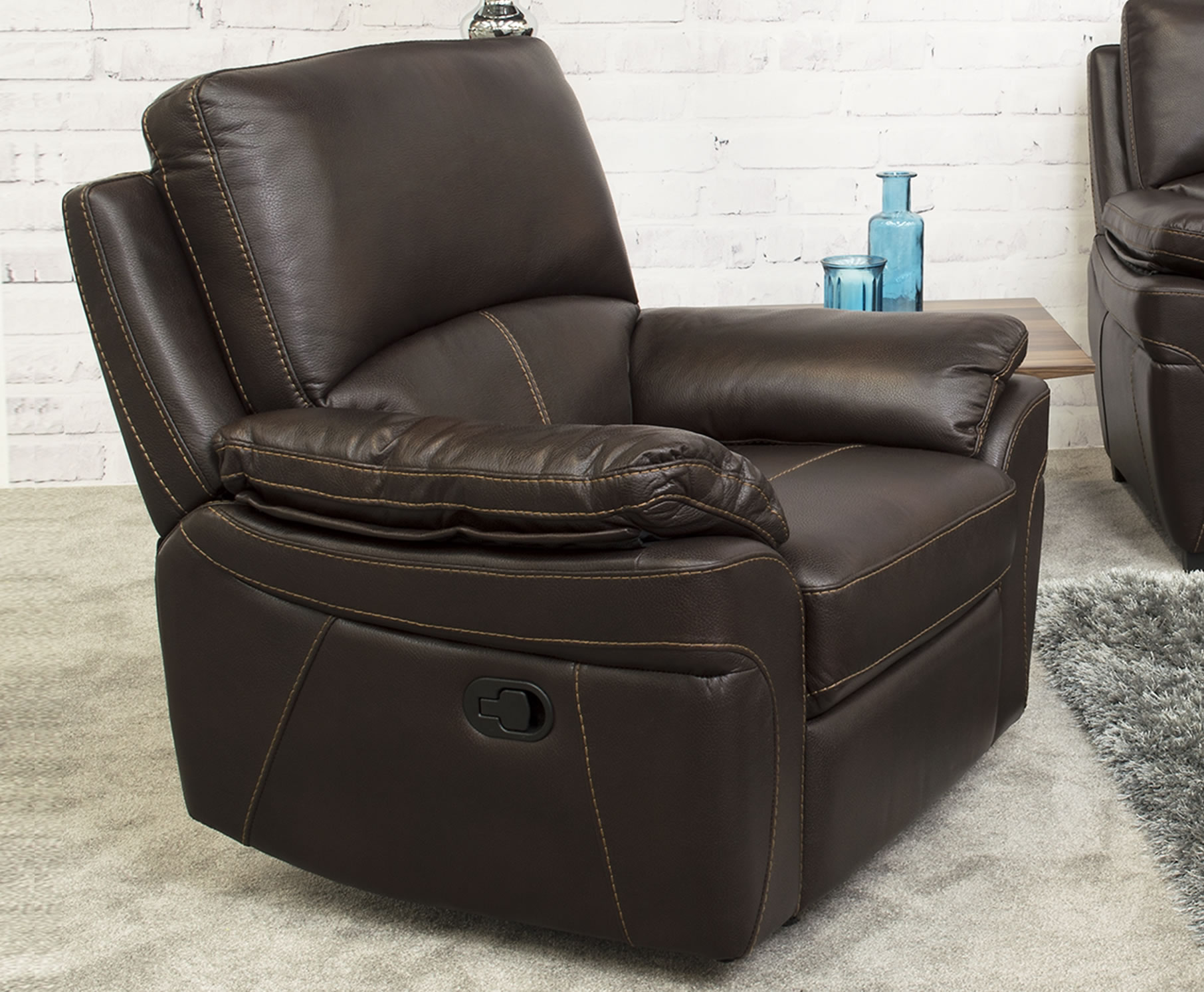 leather look armchair belvedere brown leather look recliner arm chair 16656 | 1451 1
