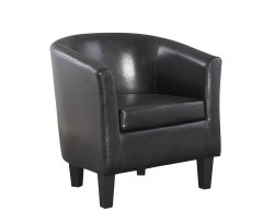 Linden Black Faux Leather Tub Chair