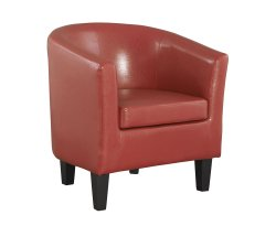 Linden Red Faux Leather Tub Chair