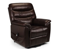 Harlow Brown Bonded Leather Rise & Recline Chair
