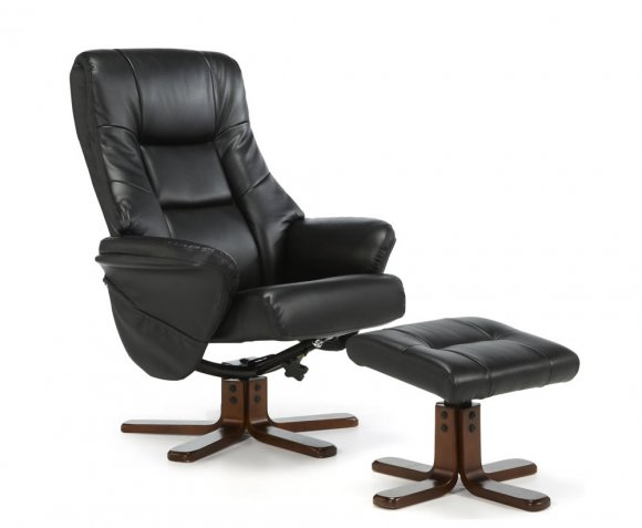 black faux leather massage recliner chair and stool recliner chair