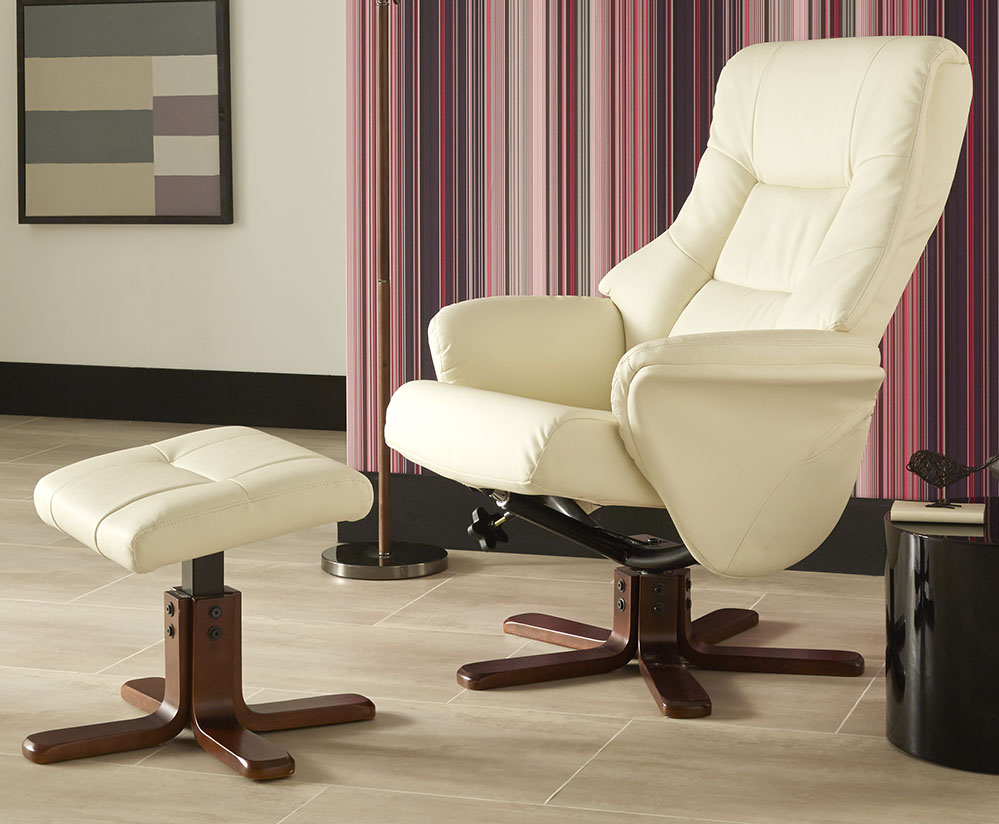 cream faux leather massage recliner chair and stool recliner chair