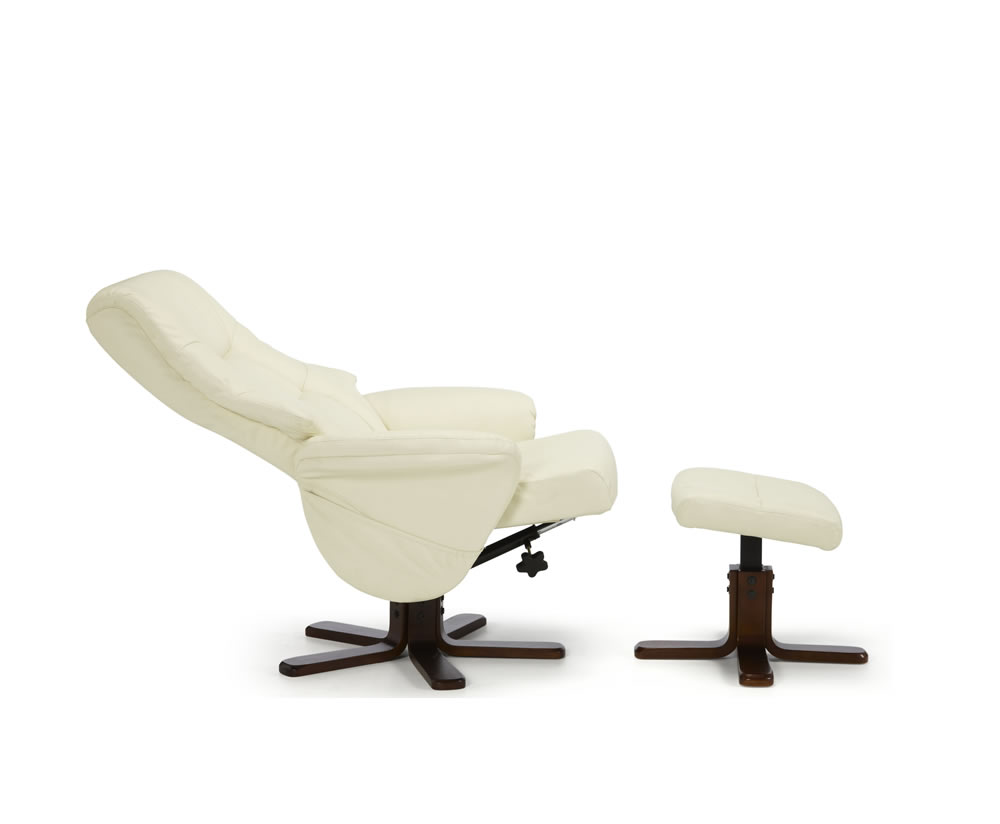 welton cream faux leather massage recliner chair and stool just