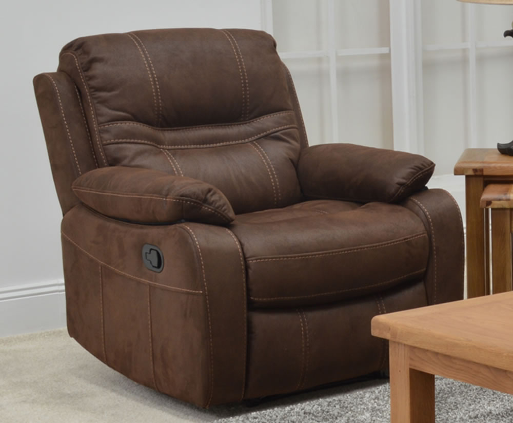 Sinatra Brown Stain Resistant Recliner Arm Chair