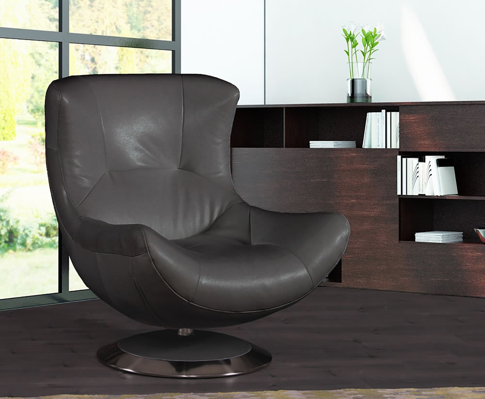 justarmchairs.co.uk Alexander Grey Leather Match Occasional Chair