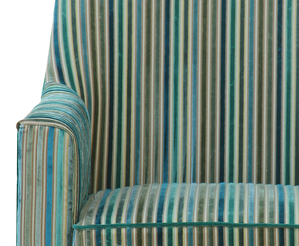 Golding Teal Striped Fabric Arm Chair