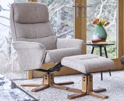 Hadrian Stone Fabric Swivel Chair and Foot Stool