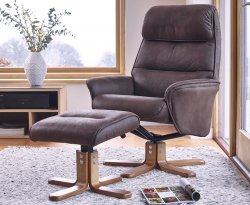 Hadrian Brown Faux Suede Swivel Chair and Foot Stool