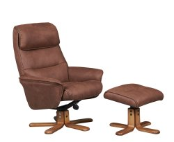Hadrian Faux Suede Swivel Chair and Foot Stool
