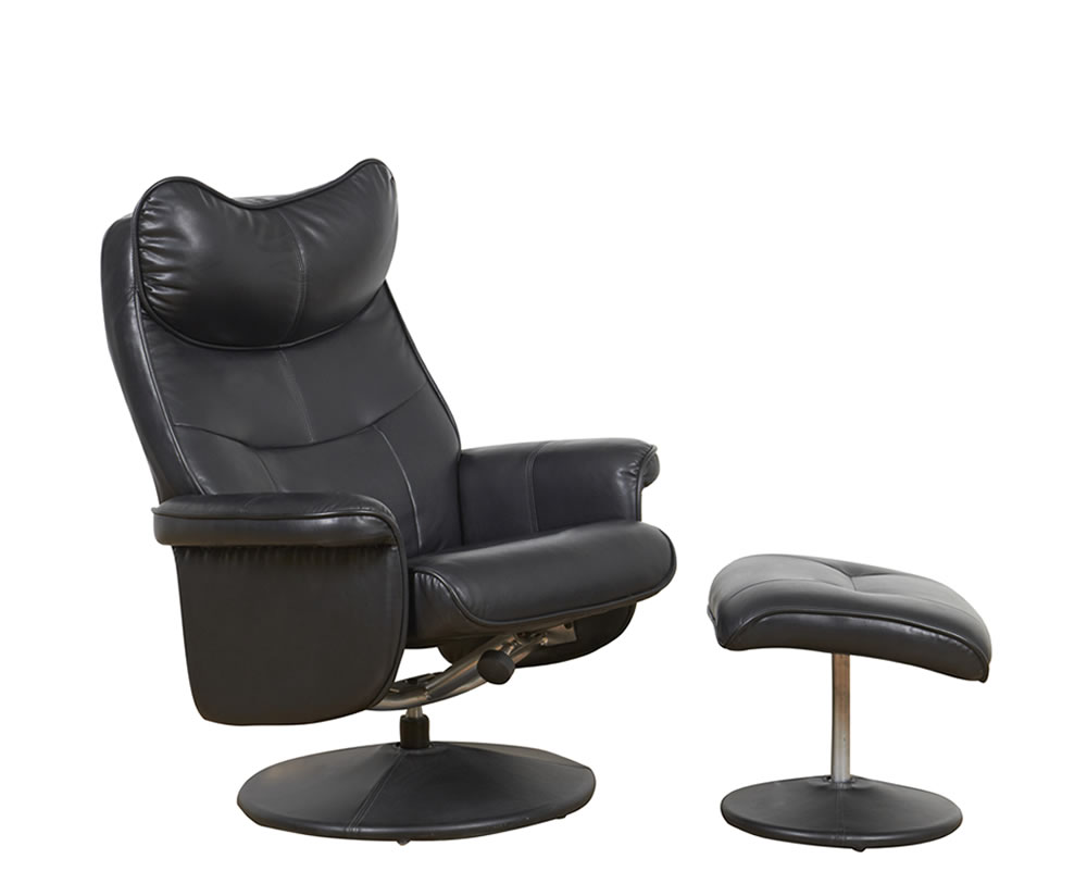 justarmchairs.co.uk Vatican Black Faux Leather Swivel Chair and Foot Stool chair and stool
