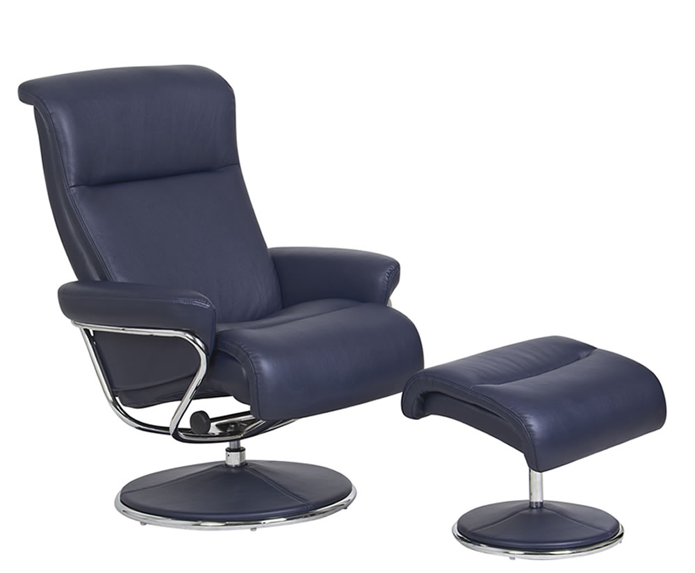 Sandy Deep Blue Faux Leather Swivel Chair And Footstool