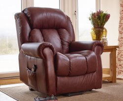 Avebury Chestnut Top Grain Leather Dual Motor Rise and Recline Chair