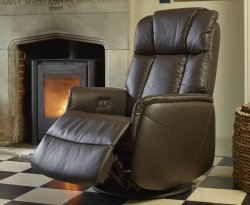 Ramsey Espresso Bonded Leather Swivel Recliner Chair