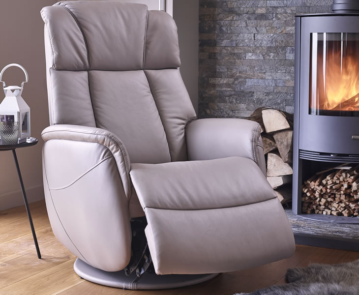 justarmchairs.co.uk Ramsey Pebble Bonded Leather Swivel Recliner Chair