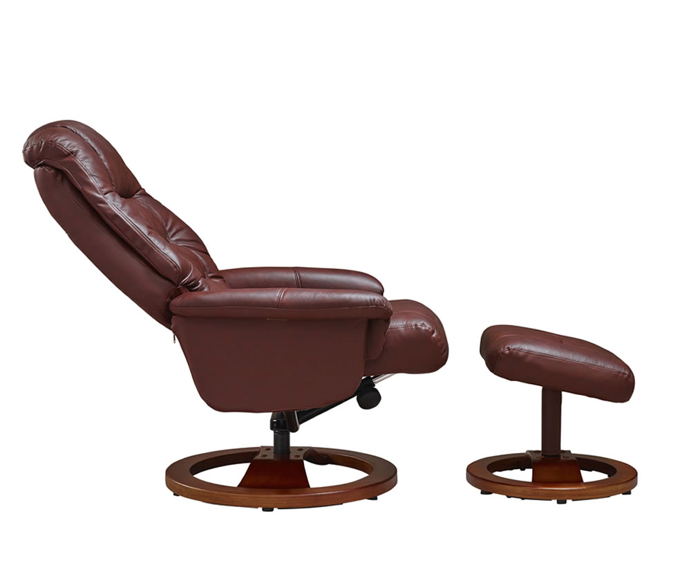 Jeremiah chestnut bonded leather swivel chair and foot stool - Swivel feet for chairs ...