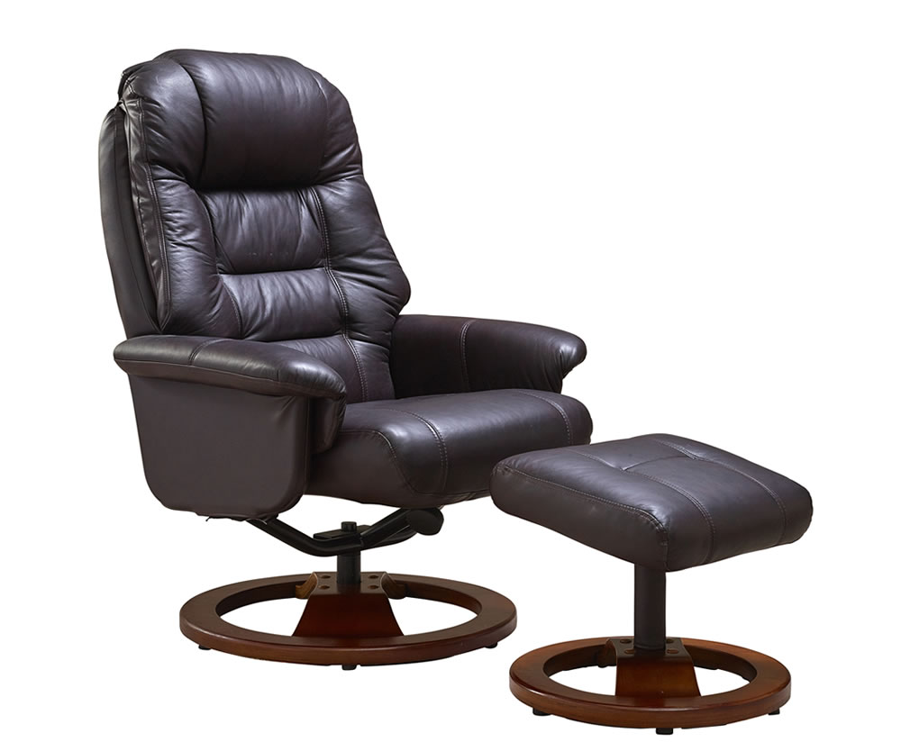 Jeremiah red wine bonded leather swivel chair and foot stool for Stool chair