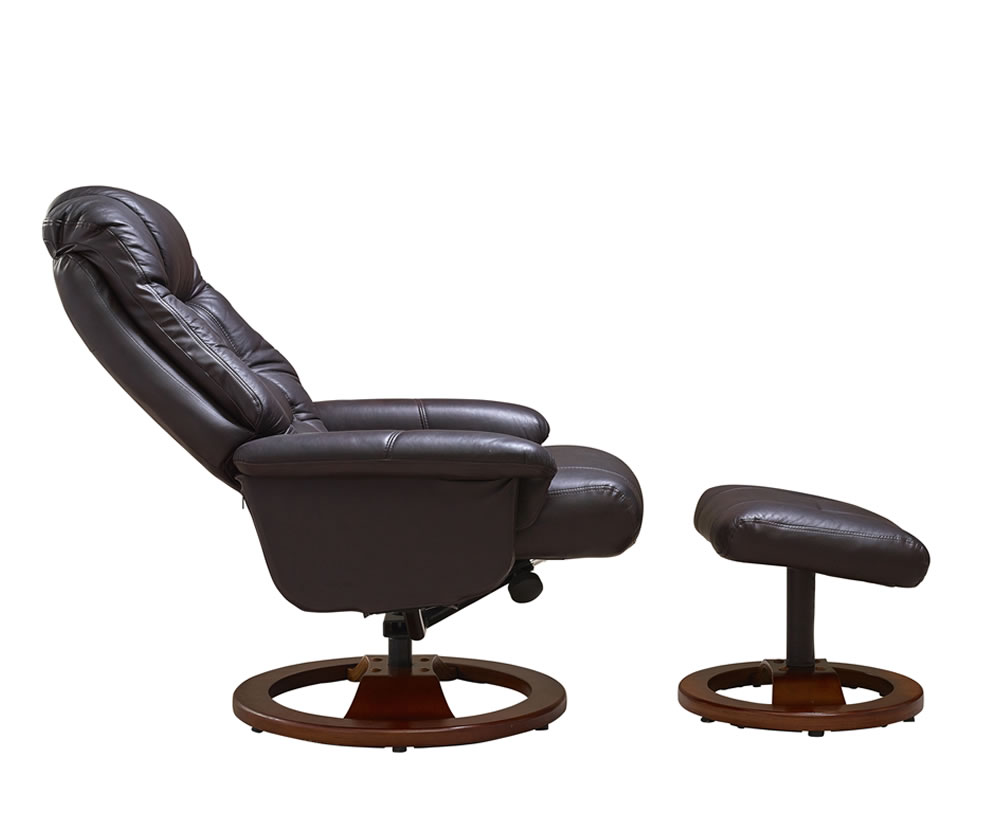 Jeremiah red wine bonded leather swivel chair and foot stool - Swivel feet for chairs ...
