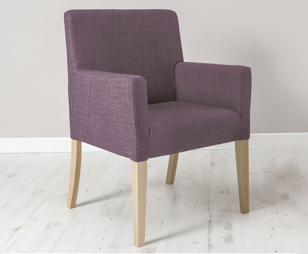 justarmchairs.co.uk Madelaine Fabric Bedroom Chair gem amethyst leg finish - beech