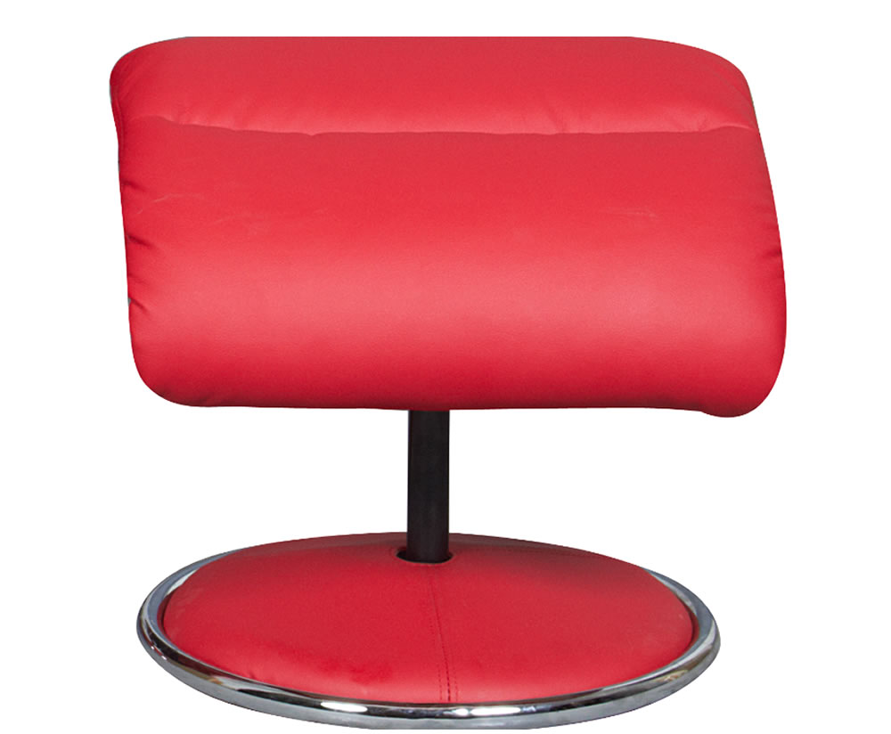 Douglas red faux leather swivel chair and foot stool - Swivel feet for chairs ...
