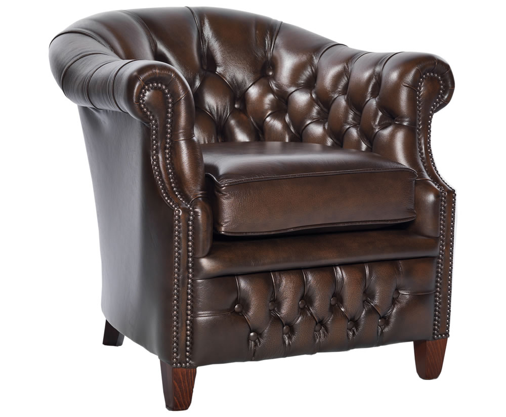 Royston Antique Brown Genuine Leather Tub Chair