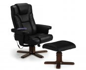 Malmo Black Faux Leather Massage Recliner Chair with Footstool