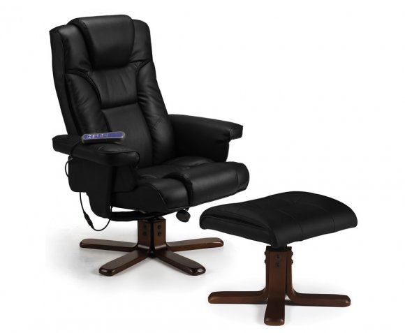 malmo black faux leather massage recliner chair with footstool 5 5 1 1