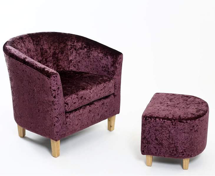 justarmchairs.co.uk Falkirk Grape Crushed Velvet Tub Chair and Stool tub chair and stool