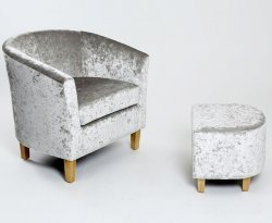 Falkirk Silver Crushed Velvet Tub Chair and Stool