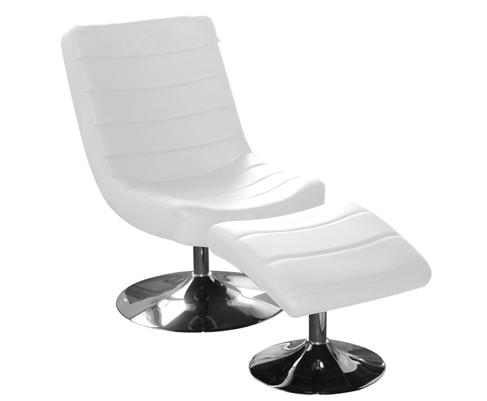 hemsby white faux leather swivel chair and footstool chair was 259