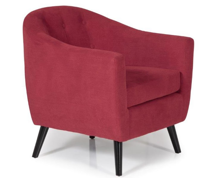Sydney red upholstered tub chair just armchairs for Red and white upholstered chairs