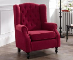 Kinross Red Fabric Fireside Arm Chair