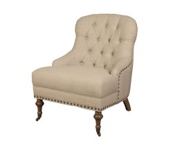 Jeanne Beige Linen Bedroom Chair