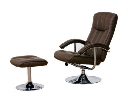 Portland Brown Faux Leather Swivel Chair and Footstool *Special Offer*