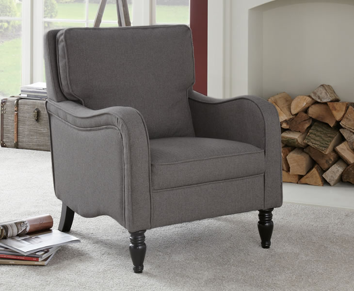 justarmchairs.co.uk Tait Grey Upholstered Occasional Armchair