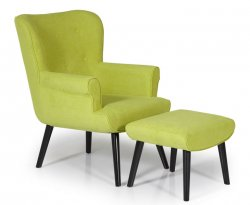 Laurel Green Upholstered Fireside Chair and Stool