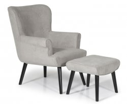 Laurel Grey Upholstered Fireside Chair and Stool