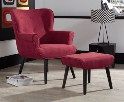 Laurel Red Upholstered Fireside Chair and Stool