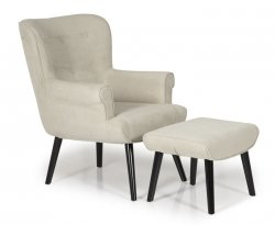 Laurel Mink Upholstered Fireside Chair and Stool