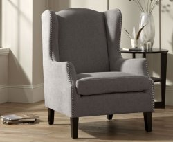 Keir Silver Upholstered Fireside Chair